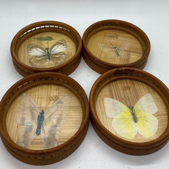 VINTAGE Bamboo Butterfly Coasters - Set of 4